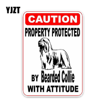 YJZT 15*11.4CM Property Protected By Bearded Collie Dog Car Decoration Bumper Car Sticker C1-4688
