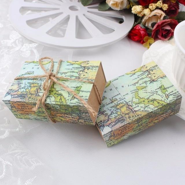 2 13 52 De Reduction 10 Pieces Theme Voyage Carte Du Monde Boite De Bonbons Vintage Kraft Cadeau De Mariage Cadeau Pour Decoration De Mariage Fun