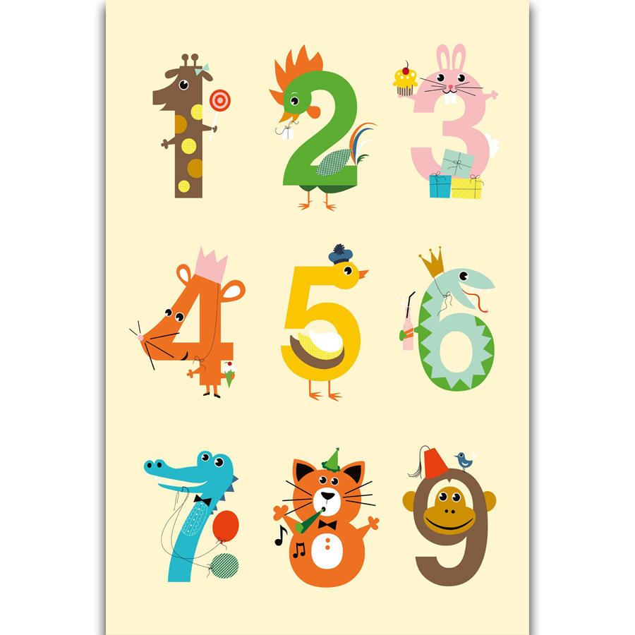 S311 Number Chart Kids Education Math Kid Room Wall Art ...