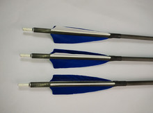 Free Shipping 12PCS 30″ Pure Carbon Hunting Arrows With (2Blue1White Turkey Feather) &Changeable Points For Archery Bow