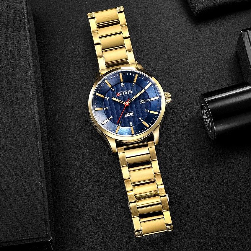 2018 CURREN Gold Quartz Watch Top Brand Luxury Men Watches Fashion Man Wristwatches Stainless Steel Relogio Masculino Saatler 6