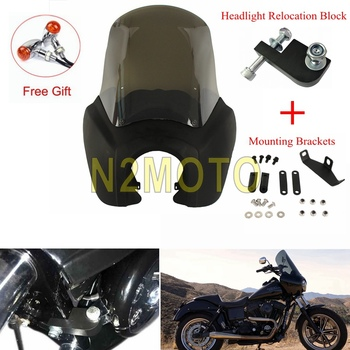 1 Set Front Fairing Retro Headlight Fairing Mask for Harley Dyna Super Glide Low Rider FXD FXR FXS Windscreen w/Light Relocation
