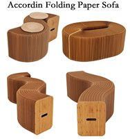 Home Furniture Softeating Modern Design Accordin Folding Paper Stool Sofa Chair Kraft Paper Relaxing Foot Living
