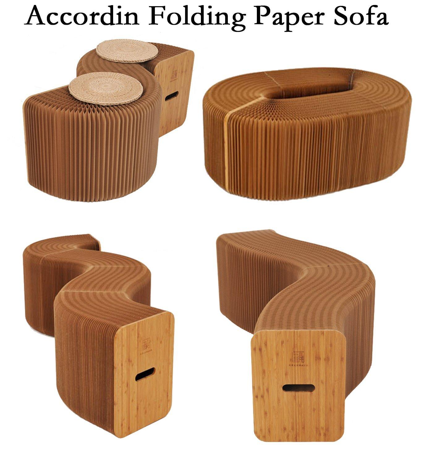 Meubles de maison Softeating Moderne Conception Accordin Pliage Papier Tabouret Canapé Chaise Kraft Papier Relaxant des Pieds salon et Salle à manger