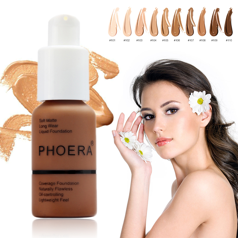 PHOERA Foundation Cream Mineral Whitening Long Wear Oil Control Concealer Liquid Foundation Soft Matte Facial Base Cream TSLM1 image