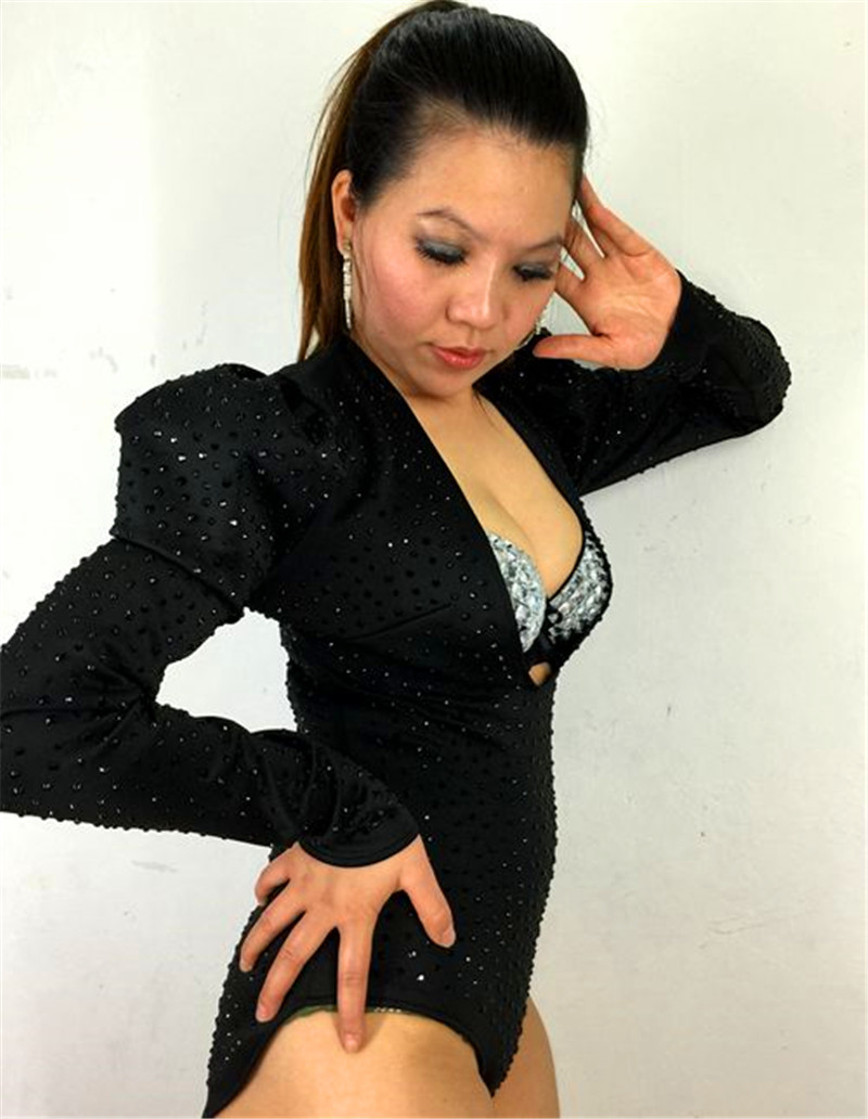 small black bubble long sleeve sexy V neck one piece costume Bubble long sleeve ultra low sexy V neck Siamese stage costume in Chinese Folk Dance from Novelty Special Use