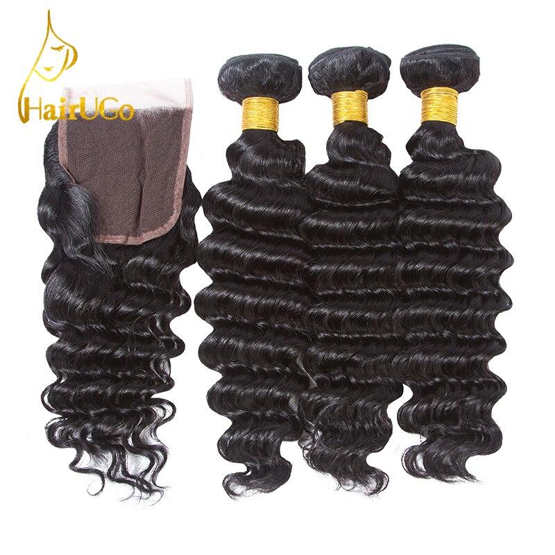 HairUGo Peruvian Hair Nature Black Color Deep Weaving Hair Extension 3 Bundles Human Hair Weave with Closure Non-Remy Hair