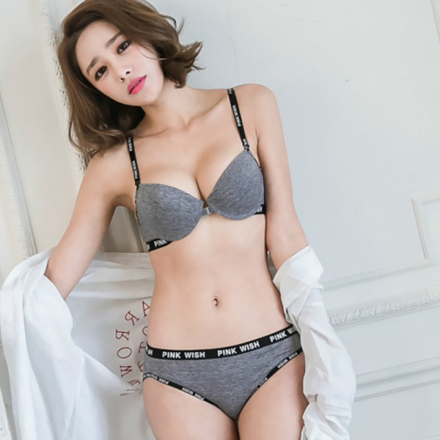 7ce2f4c15b Korean Front Closure Beauty Back Push Up Bra Set Comfortable Cotton Sexy  Underwear Young Women Matching Panties Soutient Gorge