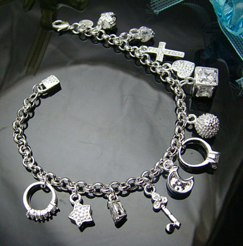 Fashion Trendy Jewelry Chic Silver Color Plated Bracelet Moon Heart Lock Cross Charm Bracelet 13 Pendants Bracelet