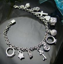 цена на Fashion Trendy Jewelry Chic Free Shipping 925 Silver Plated Bracelet Fashion Charm Bracelet 13 Pendants Bracelet For Women