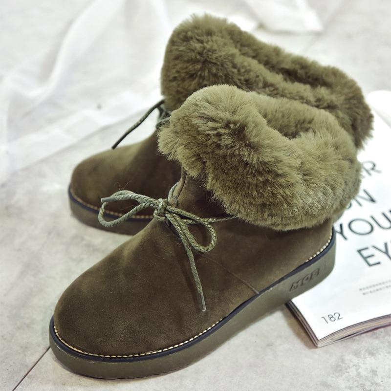 Piel Plataforma La Tobillo Zapatos Bowtie Engrosamiento Diseñador Nieve green Botas De Mujer Algodón beige Y800 Invierno Felpa Acolchado Cuerda Mujeres Negro 2019 8qxtSZwB8