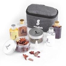 7 PCS Spice Cruets Set Reise Größe Salz Flasche BBQ Sauce Container Anis Flasche Lagerung Tasche Set Camping Wandern BBQ selbst fahren