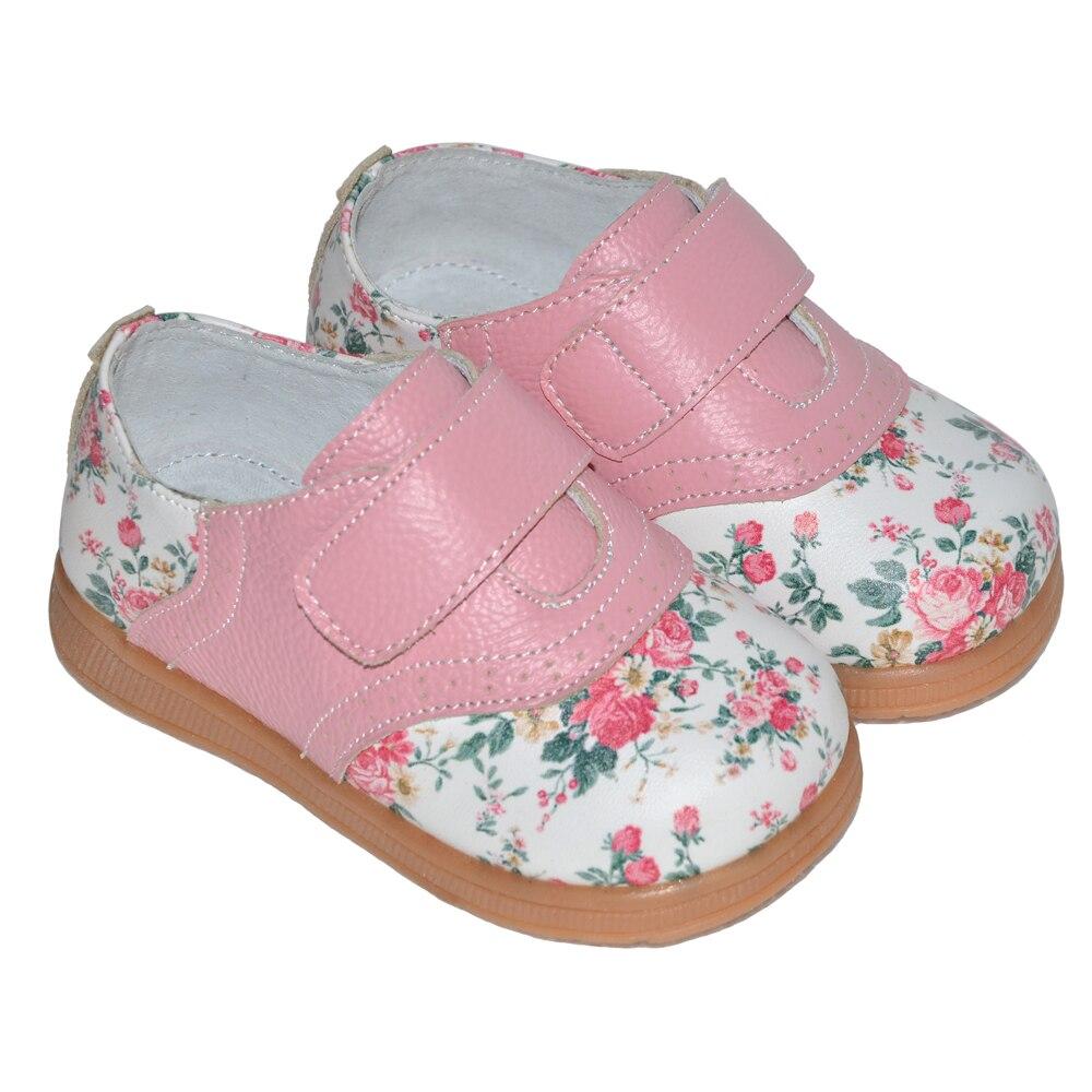 2017 nowe dziewczyny buty prawdziwej skóry róża druku wiosna - Obuwie dziecięce - Zdjęcie 3