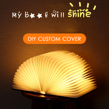 new 2019 Leather/wooden novelty book lamp Portable USB Rechargeable LED Magnetic Foldable Night Light Desk Lamp Home Decor