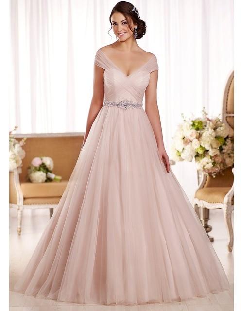 Elegant Blush Pink Cap Sleeve Wedding Dress A Line Plus Size Crystal