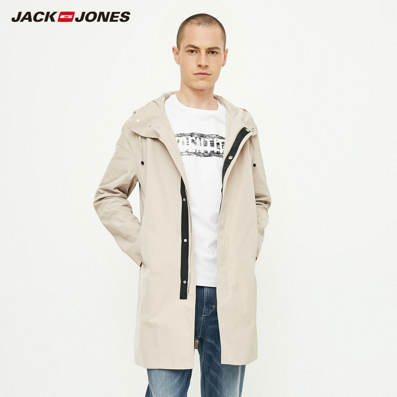JackJones Men's Basic Hooded Long Trench Coat Windbreaker Menswear 218321522