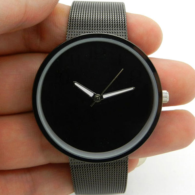 Black Metal Iron Net Web Mesh Band Fashion Simple Quartz Wrist Watch Hours Mens Womens Unisex Wrist Watch Relogio Masculino