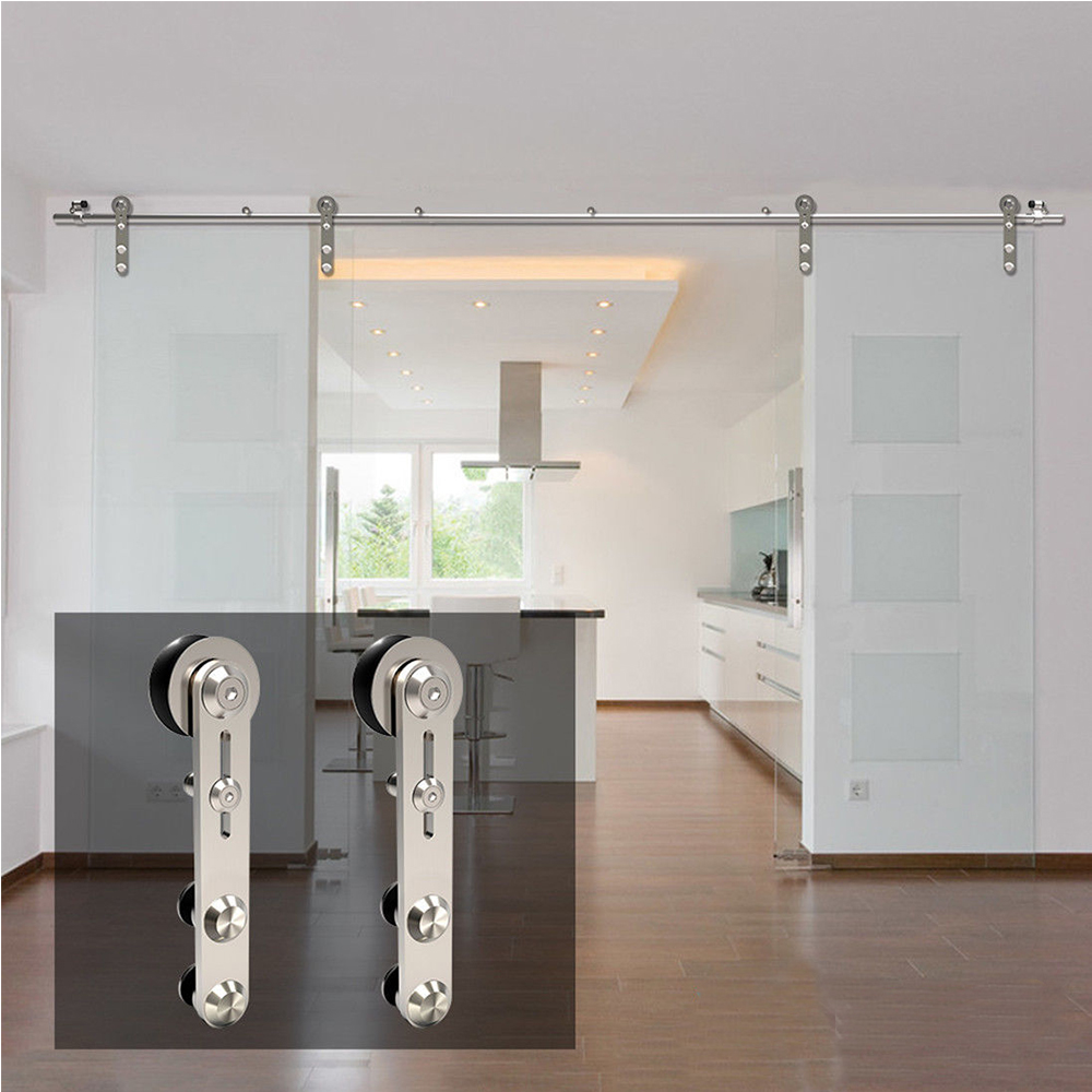 LWZH10-16FT Round -Shaped Silver Stainless Steel Puerta Corredera Wooden and Glass Sliding Door Hardware Kit for Double Door