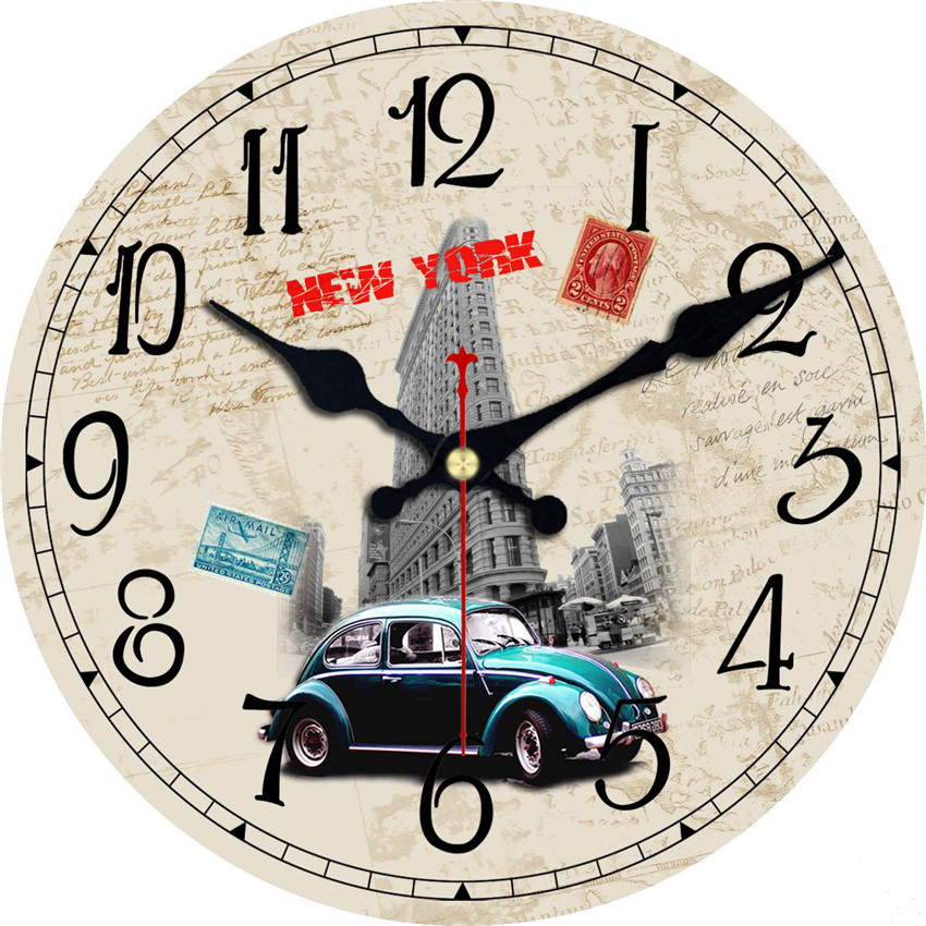 London Big Ben Double-Decker Bus Large Decorative Round Wall Clock Living Room Wall Decor Saat Fashion Silent Vintage Watch Wall