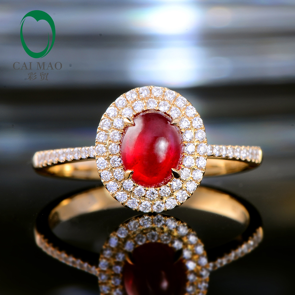 Caimao Claw Prongs 1.21ct Natural Cabochon Cut Ruby Halo Diamond 14kt Yellow Gold Engagement Wedding Ring caimao jewelry natural red ruby with pearl and diamond engagement 14ct yellow gold pendant