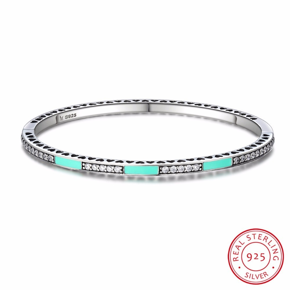 Genuine 925 Sterling Silver 3 Color Radiant Hearts, Light Pink Enamel & Clear CZ Bangle & Bracelet Luxury Jewelry SCB017 top quality bright mint enamel clear cz radiant hearts of pan bangle fit europe bracelet 925 sterling silver bead charm jewelry