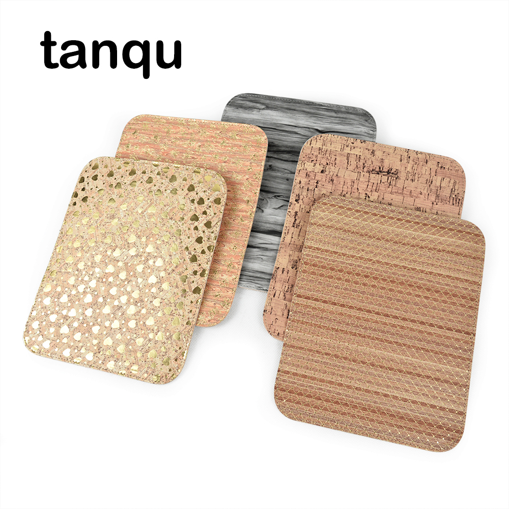 Tanqu Leather Flap Cover  For Obag O Pocket Bag Lid Clamshell Wood Grain Pattern PU Flap Magnetic Lock Snap Fastener
