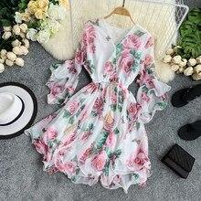 цены на Elegant Summer Women Sweet Floral Print Midi Dress Sexy V-neck Flare Sleeve Chiffon Short Dresses Casual A-line Beach Dress Robe  в интернет-магазинах