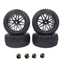 "4pcs 2.2"" RC Rally Car Rubber Tires & Wheel Rims 12mm Hub Hex Foam Insert For 1:10 HSP HPI Tamiya Redcat Exceed Off Road Tyre"