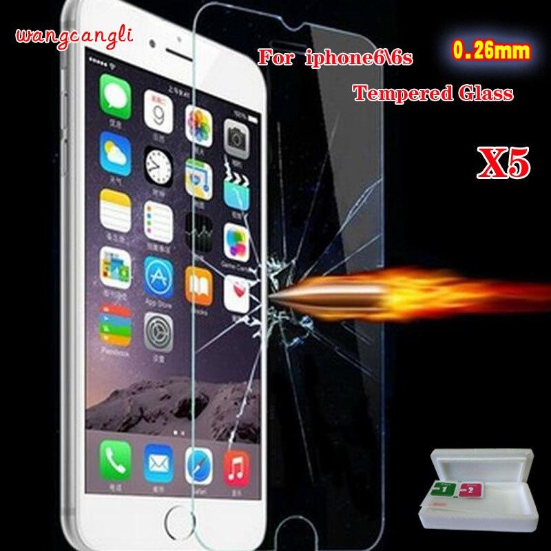 Wang cang li 5pcs gehärtetes Glas für iPhone 4s 5 5s 6 6s plus 7 - Handy-Zubehör und Ersatzteile