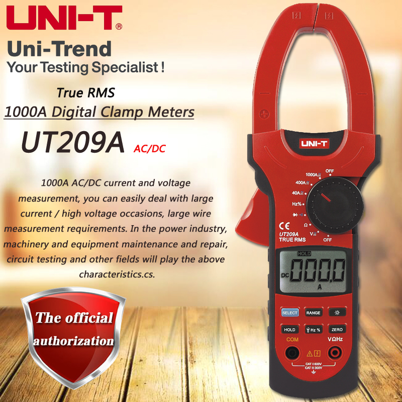 UNI-T UT209A AC DC 1000A Digital Clamp Meter True RMS ammeter Resistor / Frequency / Diode Test LCD Backlight mastech ms2001f holdheld digital clamp meter 31 2 bit ac digital clamp continuity diode test with backlight
