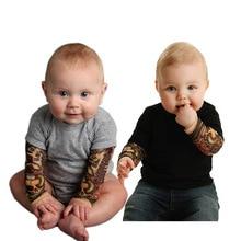 Для новорожденных, комбинезон для мальчиков, для малышей Детская одежда для младенцев татуировки рок одежда для альпинизма с длинными рукавами и принтом «Татуировка», детский комбинезон