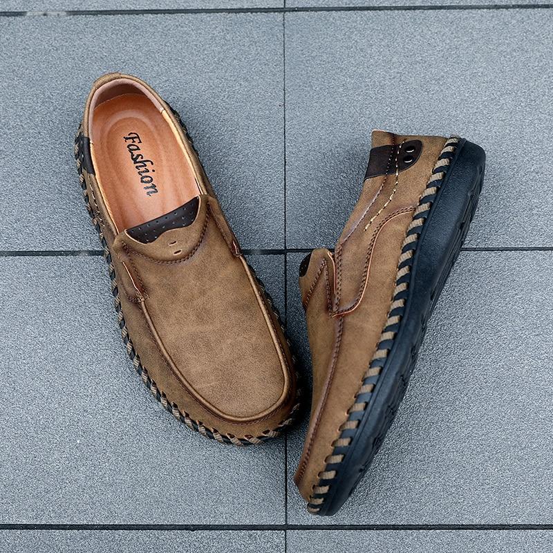 JICHI 2019 New Comfortable Casual Shoes Loafers Men Shoes Quality Split Leather Shoes Men Flats Hot Sale Moccasins Shoes Big Sz