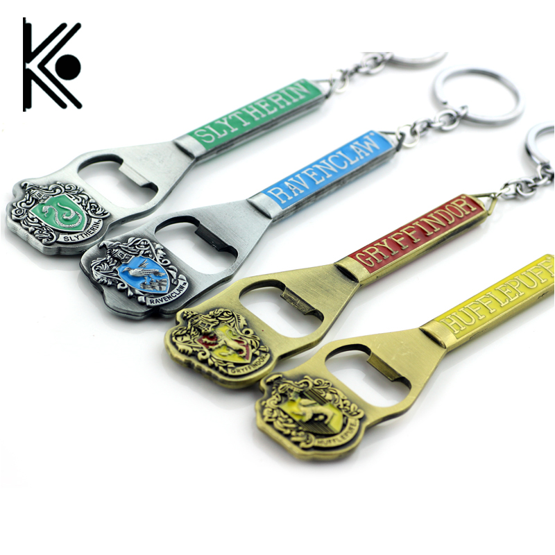 wholesale High quality hogwarts bottle opener Hogwarts Ravenclaw Hufflepuff Slytherin badge logo Keychain for men birthday gift