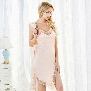 Image 5 - Fiklyc brand summer womens sleep & lounge lace & satin female pyjamas sets nighties sleepwear two pieces robe & gown sets NEW