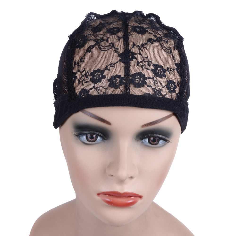Pruik cap voor het maken van pruiken met verstelbare riem op de rug weven cap size lijmloze pruik caps goede kwaliteit Haar netto Zwart