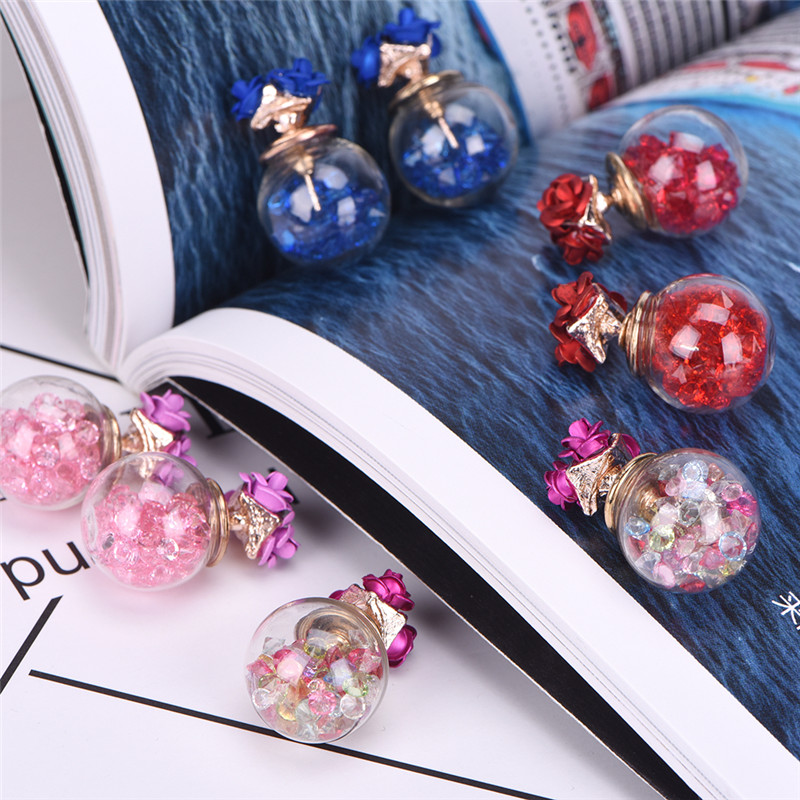 Hot New 1Pair Chic Earring Womens Double Sides Crystal Rose Flower Glass Ball Ear Stud Earrings Girls Jewelry Gift Shellhard