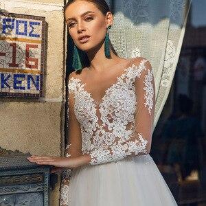Image 3 - A Line Long Sleeves Wedding Dresses Tulle Lace Appliques Vestido De Noiva Button Illusion Bridal Gowns Court Train Custom
