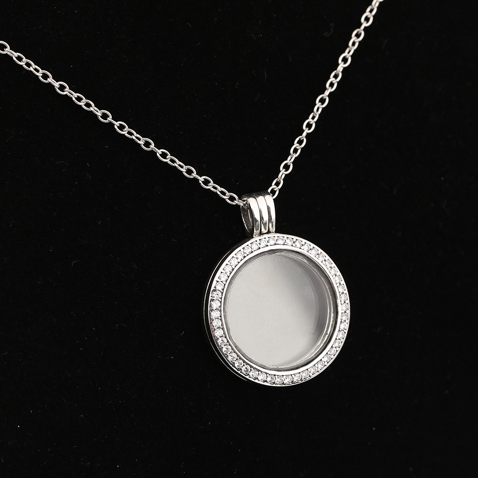 Authentic 925 Sterling Silver Sparkling Floating Locket Necklace With Crystal For Women Wedding Gift fit Pandora Fine Jewelry