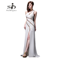 Prom Dress 2018 SoDigne One Shoulder Hot Sale Custom Made Pleats Sexy White Side Slit Beaded Girls Dress To Party