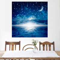 LED Canvas Painting Moon Night Sky Meteor LED Flashing Optical Fiber Picture Gift For Living Room