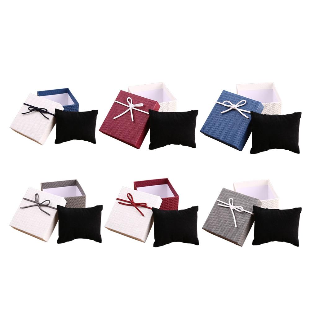 Fashion Wrist Watch Display Collection Storage Bracelet Jewelry Organizer Case Holder With Pillow Cushion Square Watch Box