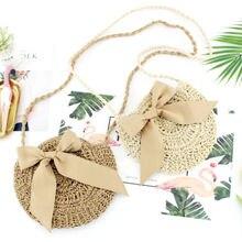 купить Women Straw Bag Summer Beach Rattan Shoulder Wicker Weave Cross Tote Handbag Ladies Fashion Bow  Handbags  Messenger Bags дешево