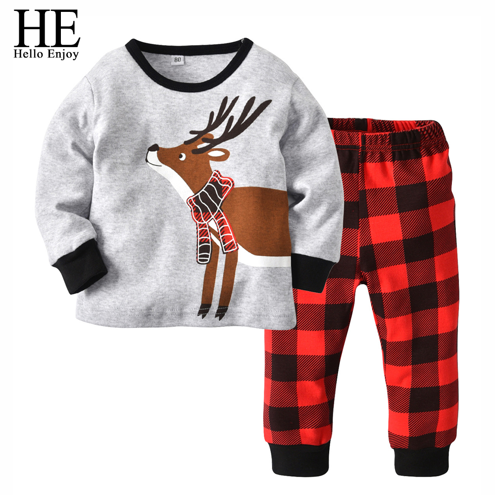 HE Hello Enjoy Children Clothing Christmas Outfits Red Long Sleeve Print Deer+Plaid Pant Toddler Boys 2 Piece Pajamas Sets Girls цены