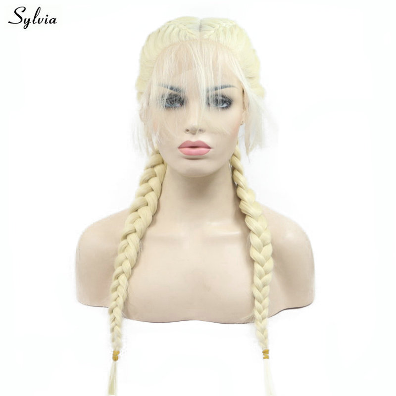 Sylvia Synthetic Double Braided Long 2x Twist Braids Wig Blonde Lace Front Wigs with Baby Hair