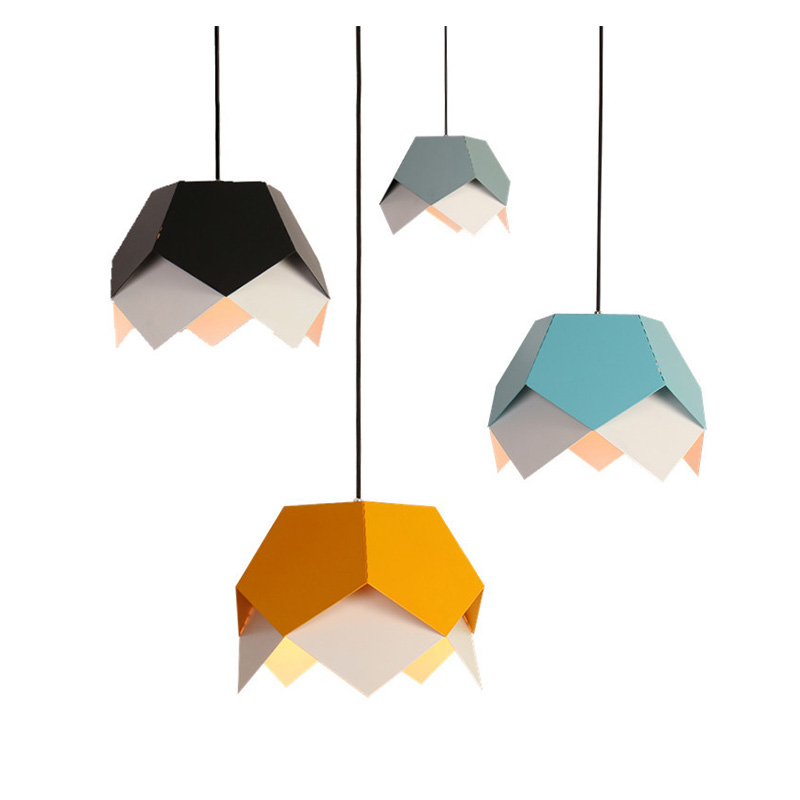 Modern new art geometric led pendant lights Nordic creative colorful iron living room restaurant bar macaron led lamp E27 bulb