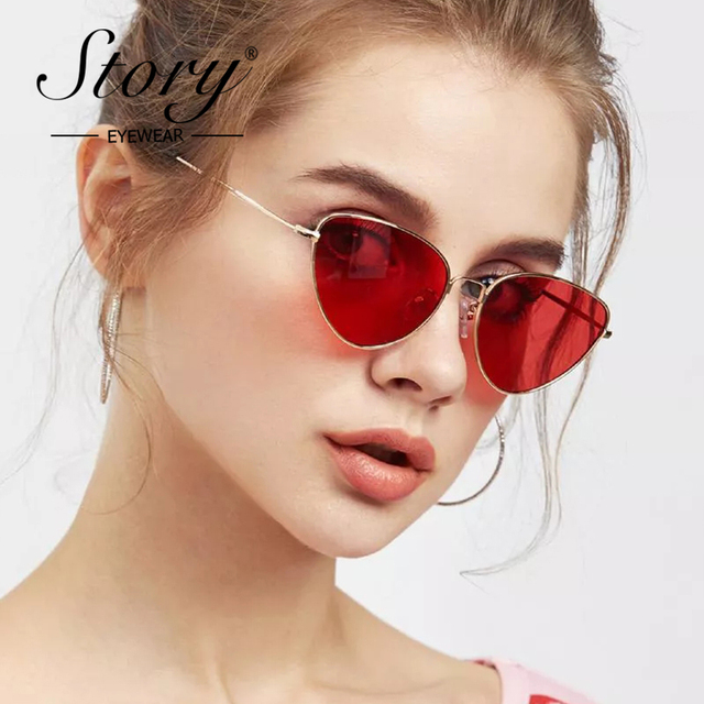 5c130b7a42 STORY 2018 Red Triangle Sunglasses Women Vintage Retro Metal Frame Cat Eye  Sun Glasses Candy Color
