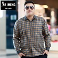 Mens Fashion large size add fertilizer increased fat autumn business casual shirt orange plaid shirt fashion fat CS358