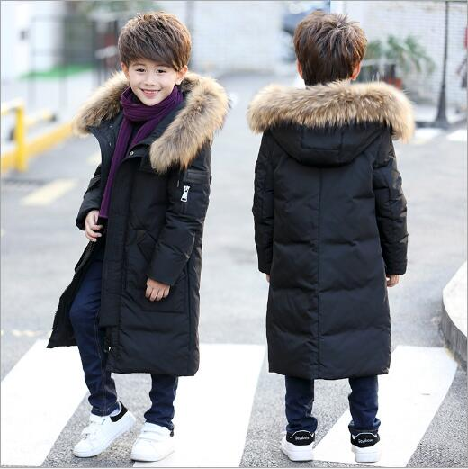 -30 Degrees 2017 Winter New Down Jackets Boys Long Section Thickening Warm Down Coats Boy Zipper Big Fur Collar Casual Jacket boys down jacket boy winter coats jackets boy 100% white duck down jacket russia winter boys down jacket 30