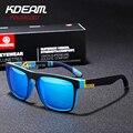 Мужские и женские зеркальные поляризованные солнцезащитные очки KDEAM  квадратные спортивные солнцезащитные очки  УФ-очки с арахисовым чехло...