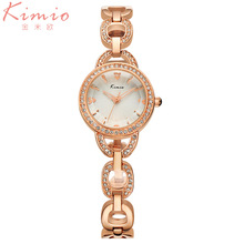 Kimio Brand Luxury Women's watches with Rose Gold Fine Alloy Strap Quartz Watch Women Dress Bracelet Watch relogio feminino